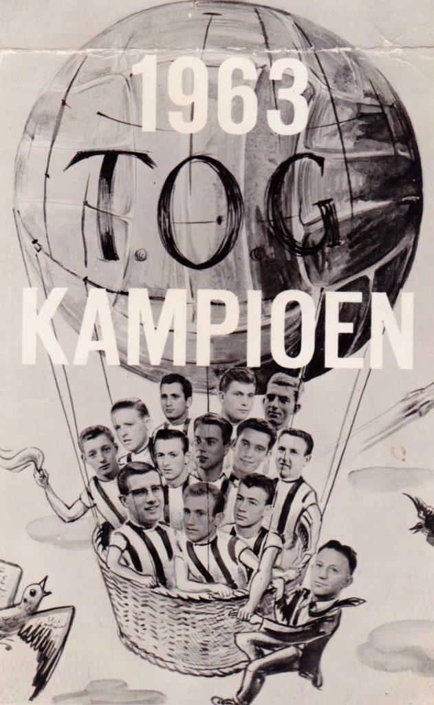 1963 - TOG-Kampioen Toon Molenaar bovenaan linksboven (boven de man met de fakkel). Foto: a.v.v. T.O.G.
