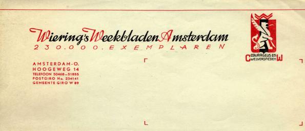 Briefhoofd van Wiering's Weekbladen uit 1941.