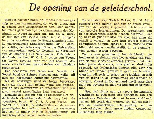 Opening geleidehondenschool 1935