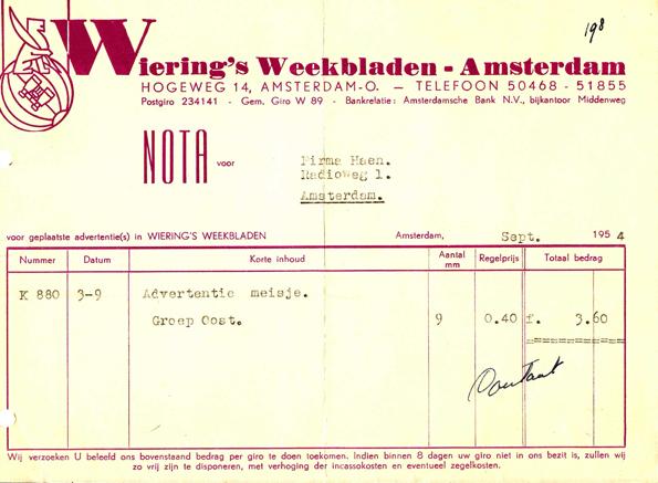 Een nota uit 1954 voor de Firma Haen voor de kosten van een advertentie. Alle rechten voorbehouden