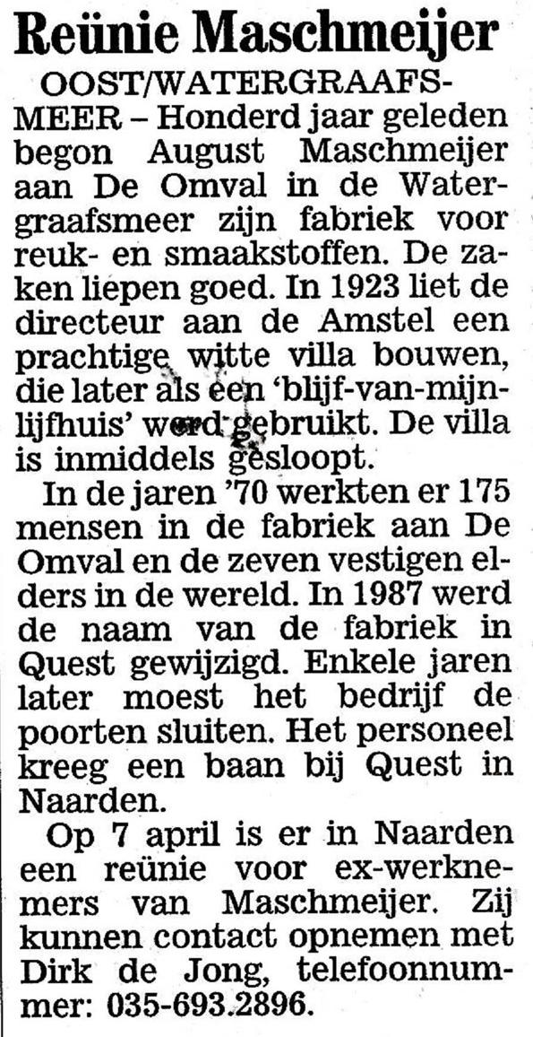 Reunie Maschmeijer - 22-3-2000 . Bron: Diemer Courant