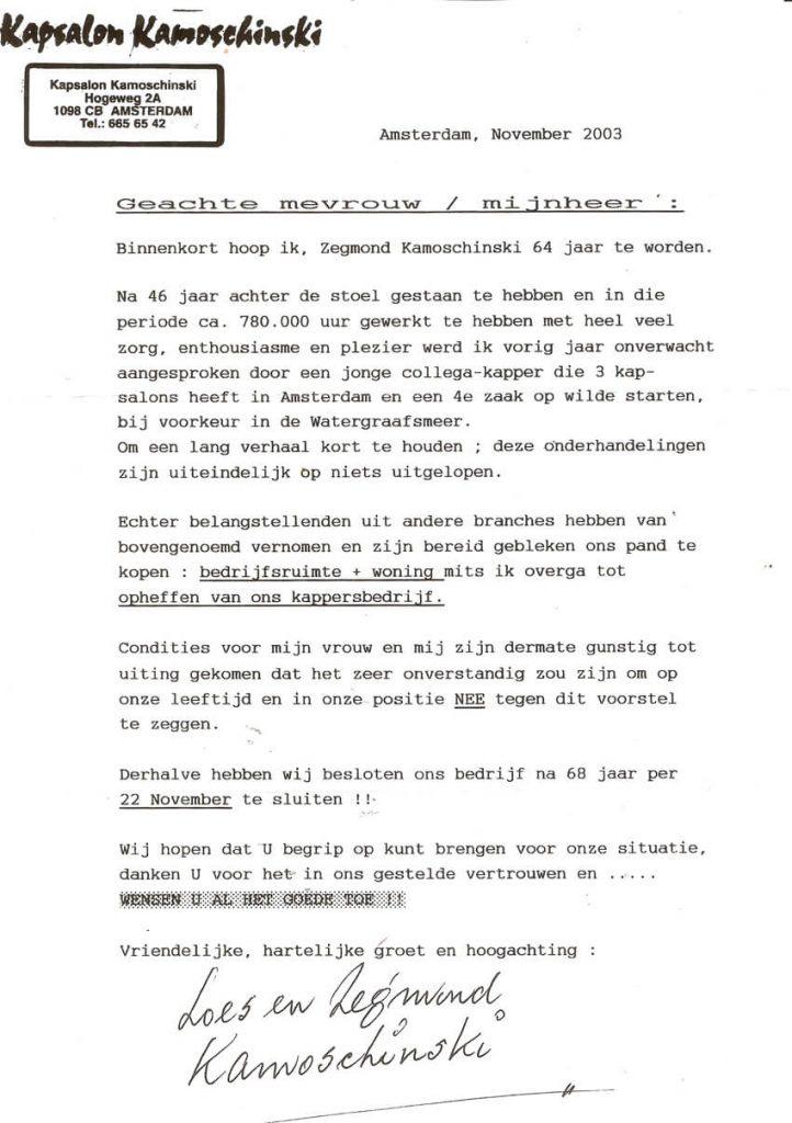 Afscheidsbrief Kamoschinsky aan de klanten Hogeweg 2 a- Alle rechten voorbehouden