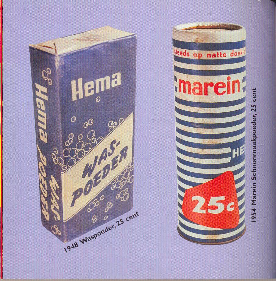 Reclame van de Hema voor wasmiddelen in 1948 en 1954. HEMA betekent: Hollandsche Eenheidsprijzen Maatschappij Amsterdam al was het in de volksmond ook wel: Hier eet men afval ! Maar dat viel in de praktijk reuze mee ! Alle rechten voorbehouden