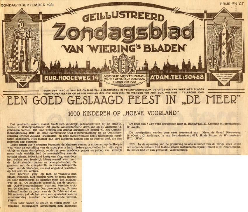 Bron: Geillustreerd Zondagsblad van Wiering's Bladen 13 september 1931 - Alle rechten voorbehouden