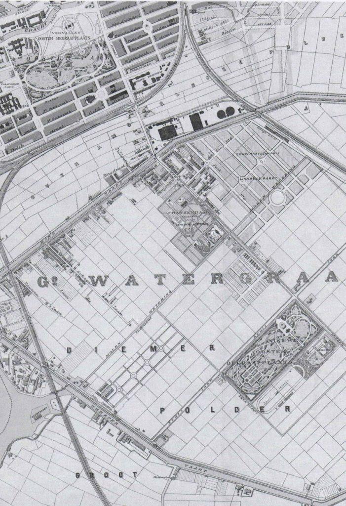 Op deze plattegrond uit 1902 is Oud-Roosenburgh te zien rechts van de Nieuwe Oosterbegraafplaats rechtsonder met daarachter het sportterrein. Alle rechten voorbehouden