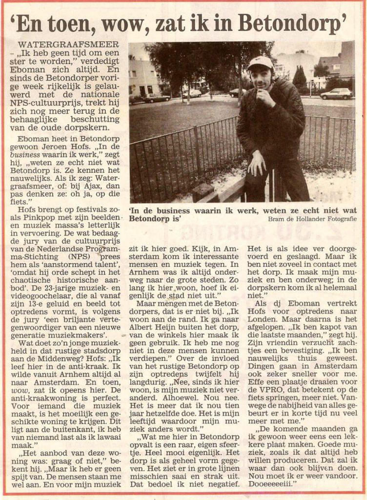 Bron: Stadsblad 25 september 1996