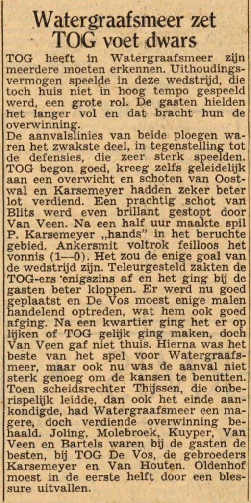 15 november 1948 - Watergraafsmeer zet T.O.G. de voet dwars Alle rechten voorbehouden