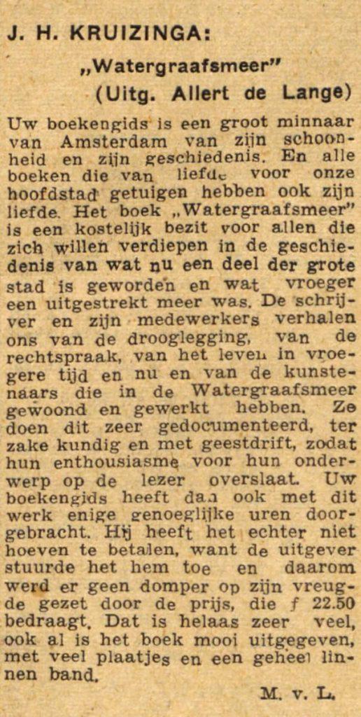 """17 januari 1948 - J. H. Kruizinga """"Watergraafsmeer"""" Alle rechten voorbehouden"""