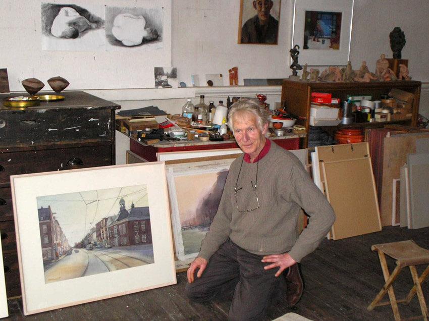 Fred Fritschy met de tekening in zijn atelier (2006). (foto Jo Haen)  Alle rechten voorbehouden