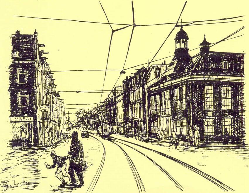 Tekening Middenweg door Fred Fritschy (1993).  Alle rechten voorbehouden