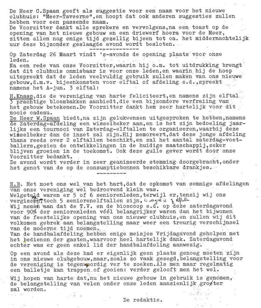 1966 25-3-1966 Nwe (blauwe) Clubhuis s.v. De Meer(2)