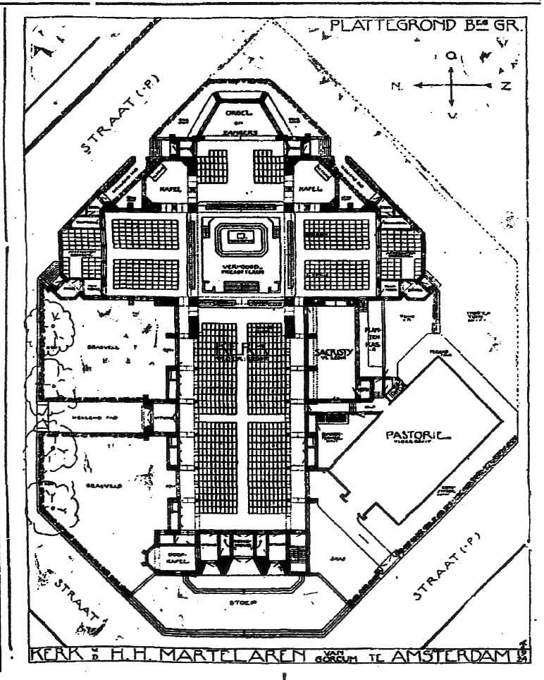 Plattegrond Hofkerk - Afbeelding: Het Vaderland 26 februari 1927 - Alle rechten voorbehouden
