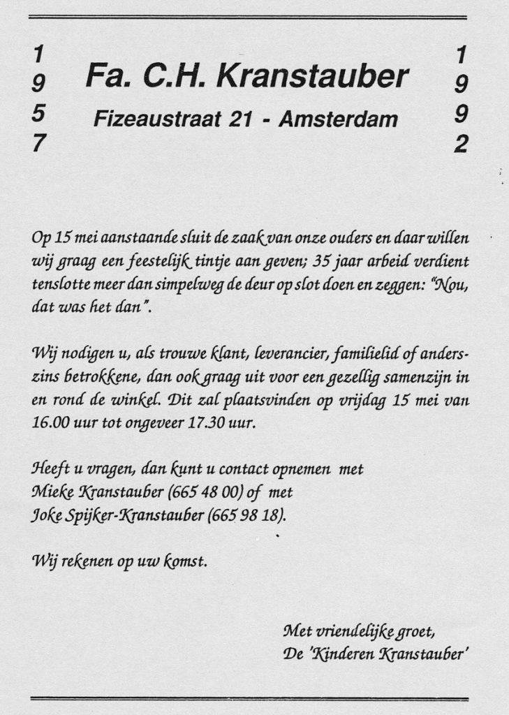 Uitnodiging afscheidsfeest (mei 1992). - Alle rechten voorbehouden