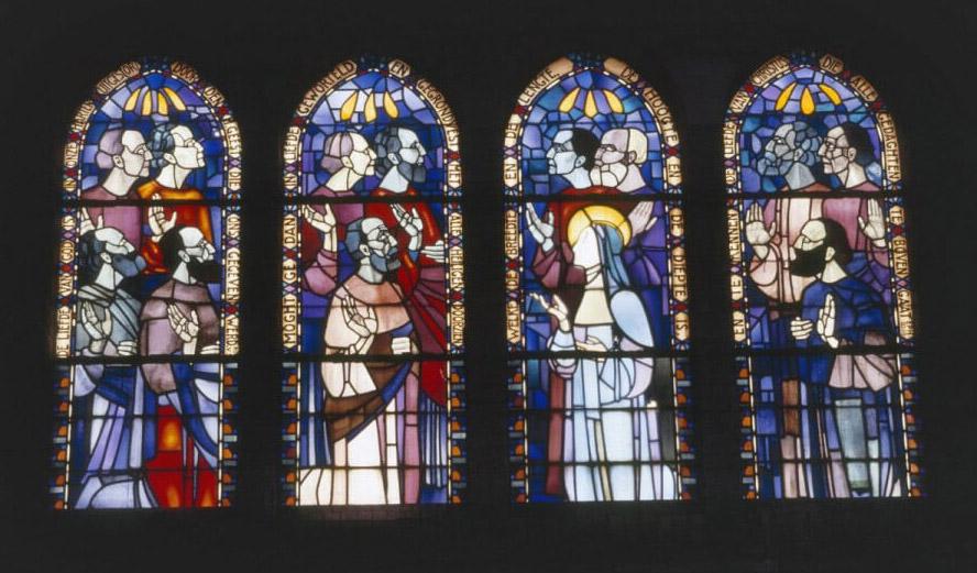 Kunstwerken: gebrandschilderde glas-in-loodramen - Bron: onbekend - Alle rechten voorbehouden