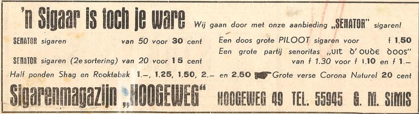 Hogeweg 49 – 1951 – Bron: Watergraafsmeers Weekblad