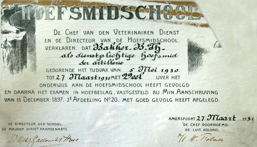 Het diploma van de hoefsmidschool - Bron: Josée Bakker - Alle rechten voorbehouden