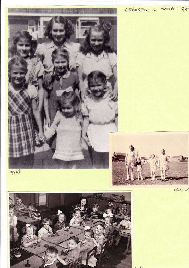 Bovenste foto; alle zusjes Hollanders omstreeks 1948, Tonny staat midden voor met strik. Op de onderste foto de kleuterschool aan het galileïplantsoen, naast de juf zit Tonny. In de linker boven hoek zit Hansje Brugman, met bril. Alle rechten voorbehouden