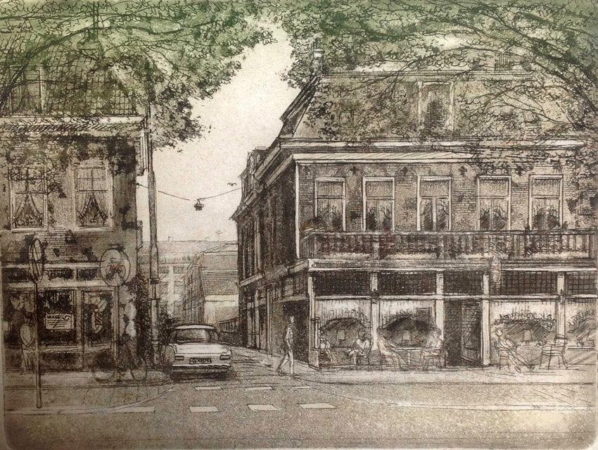 Hibsekrib en café Elsas getekend door Theo Schaap . Bron: Jacqueline Schaap
